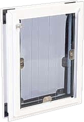 [photo] MaxSeal® Pet Door shown with signal white frame and black security panel option.